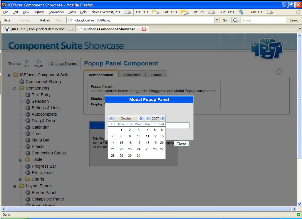 ICE-2113] Popup select date in modal popup panel disables all of ...